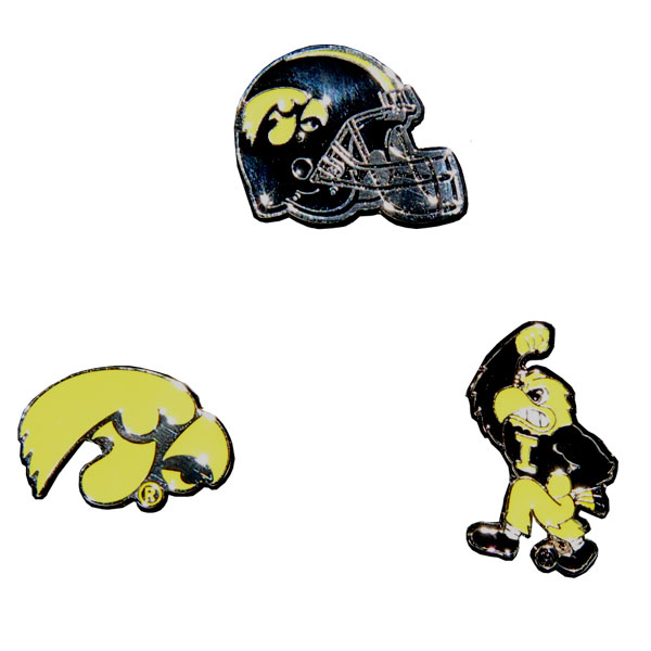 Iowa Hawkeyes 3 Piece Lapel Pin Set