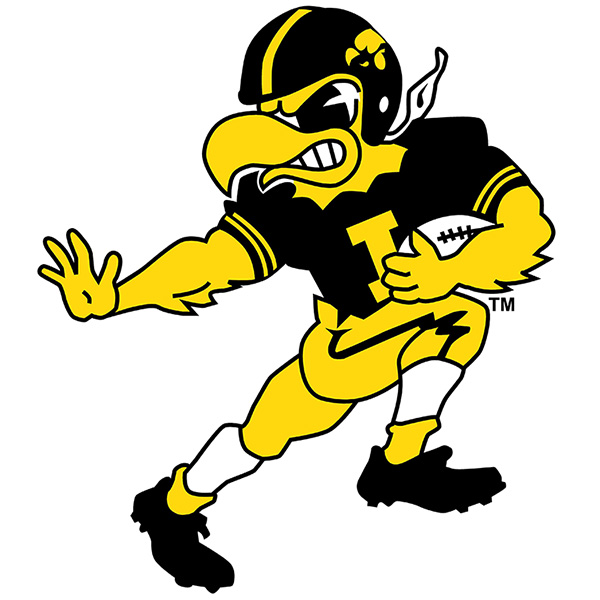 Iowa Hawkeyes Vintage Football Herky Decal - Color