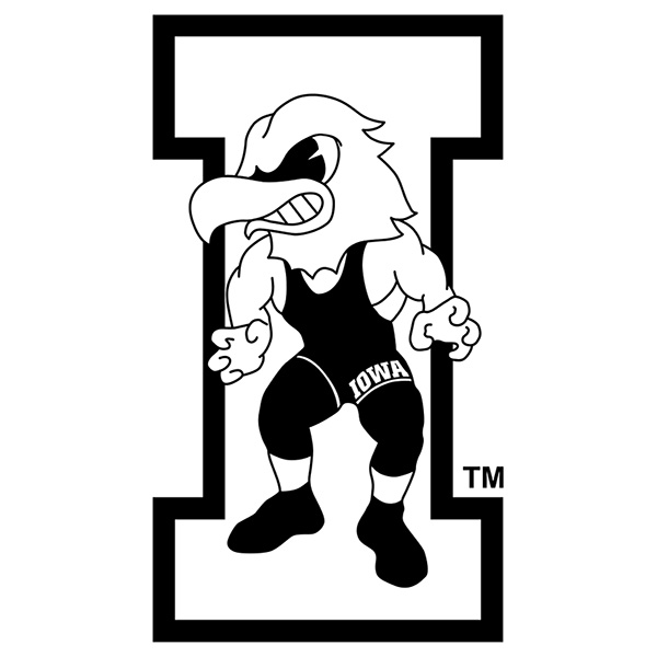 Iowa Hawkeyes Vintage Wrestling Herky Decal