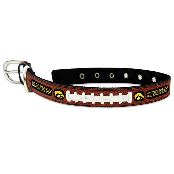 Iowa Hawkeyes Leather Football Pet Collar