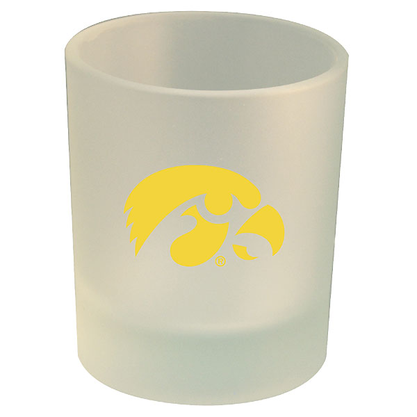 Iowa Hawkeyes Frosted Rocks Glass