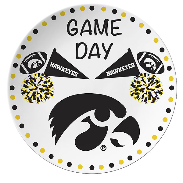Iowa Hawkeyes Game Day Round Plate