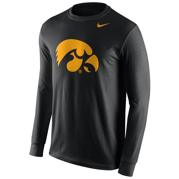 Iowa hawkeyes long sleeve logo tee for Ohio state golf shirt