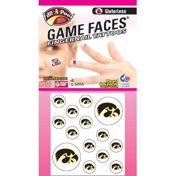 Iowa Hawkeyes Accent Nail Tattoos