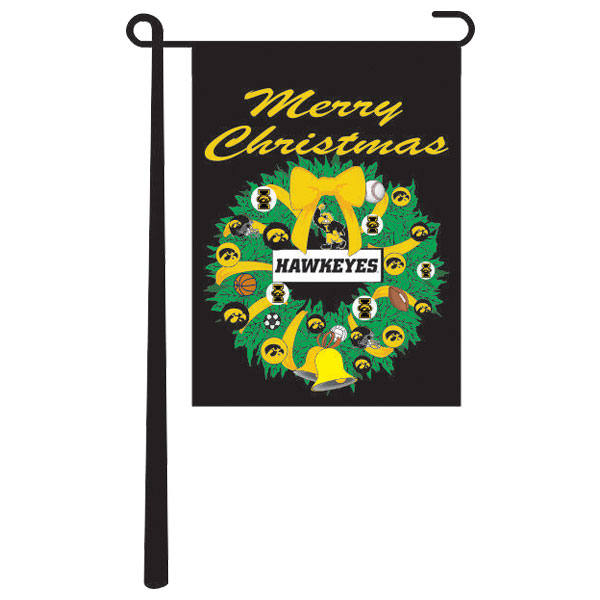 Iowa Hawkeyes Christmas Wreath Garden Flag