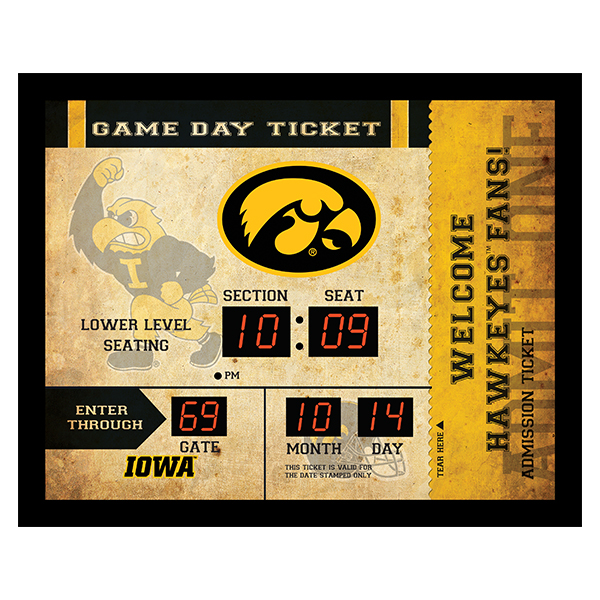 Iowa Hawkeyes Digital Scoreboard Wall Clock