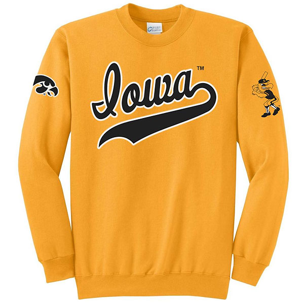 Iowa Hawkeyes Baseball Basic Crew Sweatshirt