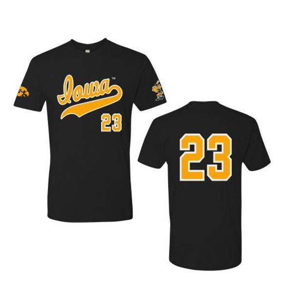 Iowa Hawkeyes Baseball Custom Black Jersey Tee