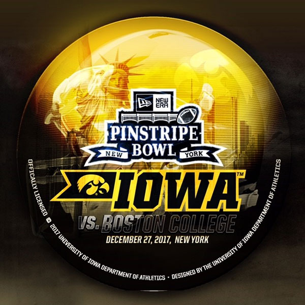 Iowa Hawkeyes Pinstripe Bowl Button