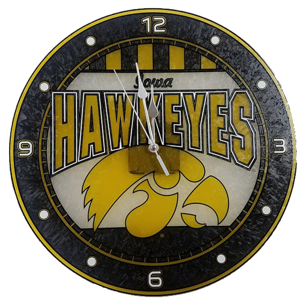 Iowa Hawkeyes Glass Art Clock
