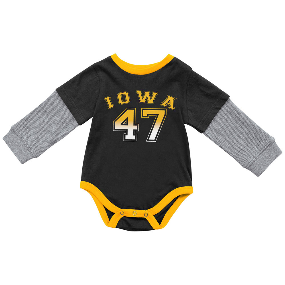 992261222 Iowa Hawkeyes Infant Fly By 2-Fer Onesie