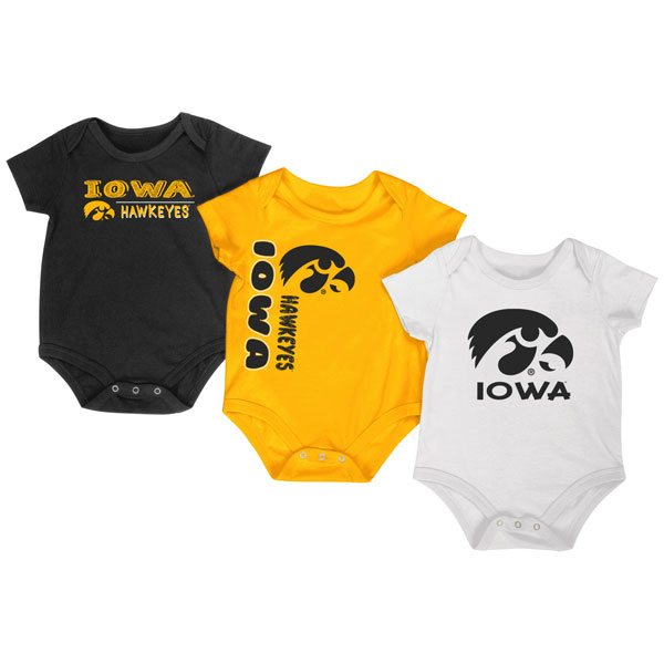 Iowa Hawkeyes Infant Trifecta Onesie 3-Pack