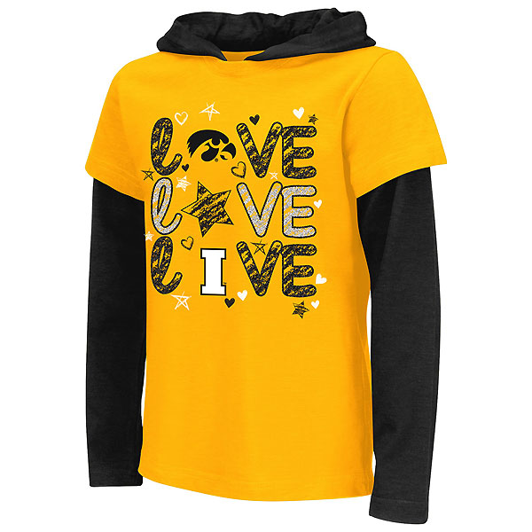 Iowa Hawkeyes Girls Rollin 2-Fer Hooded Tee