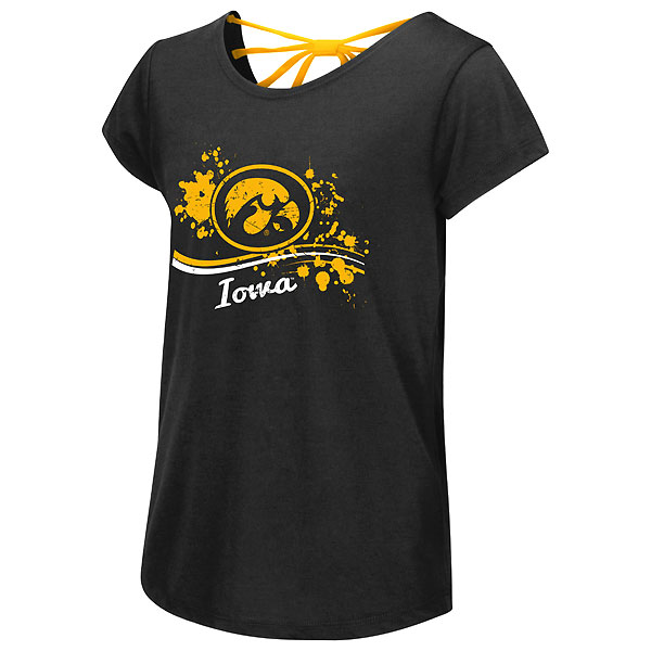 Iowa Hawkeyes Girls I Know! Bow Back Tee