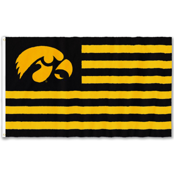 Iowa Hawkeyes Silk Screened Flag