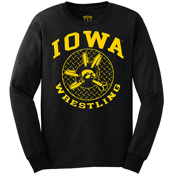 Iowa Hawkeyes Wrestling Headgear Tee - Long Sleeve