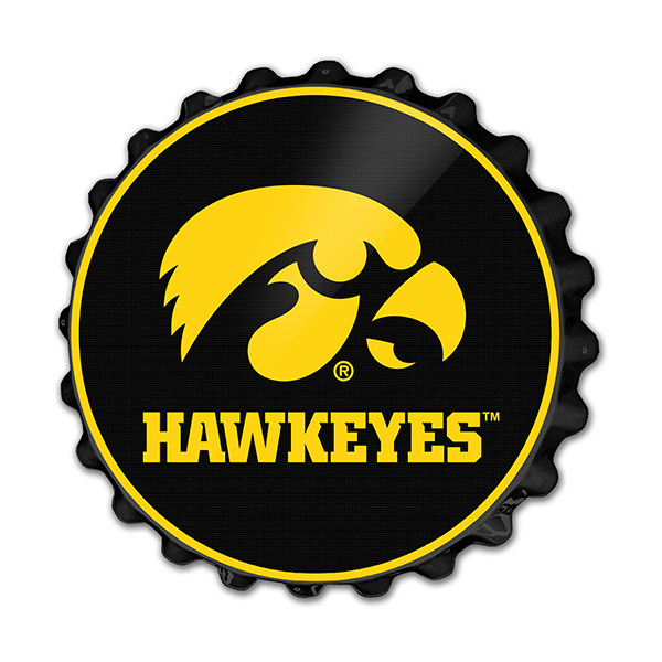 Iowa Hawkeyes Tigerhawk Bottle Cap Sign
