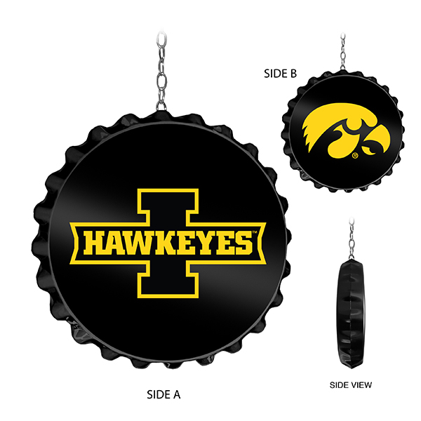 Iowa Hawkeyes Dual Logo Bottle Cap Dangling Sign