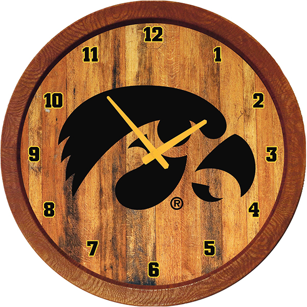 Iowa Hawkeyes Tigerhawk Barrel Clock
