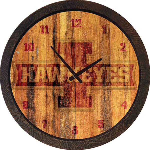 "Iowa Hawkeyes Block ""I"" Barrel Clock"