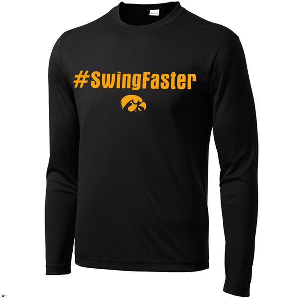 Iowa Hawkeyes Baseball Swing Faster Performance Tee