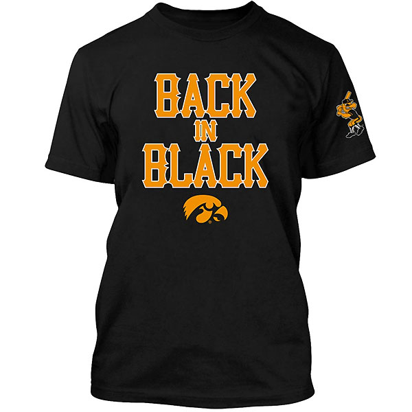 Iowa Hawkeyes Baseball Back In Black Tee