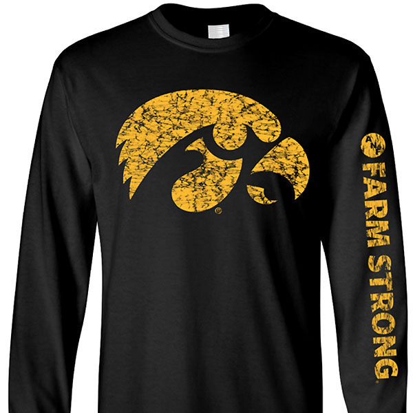 Iowa Hawkeyes Farm Strong Big Logo L/S Tee