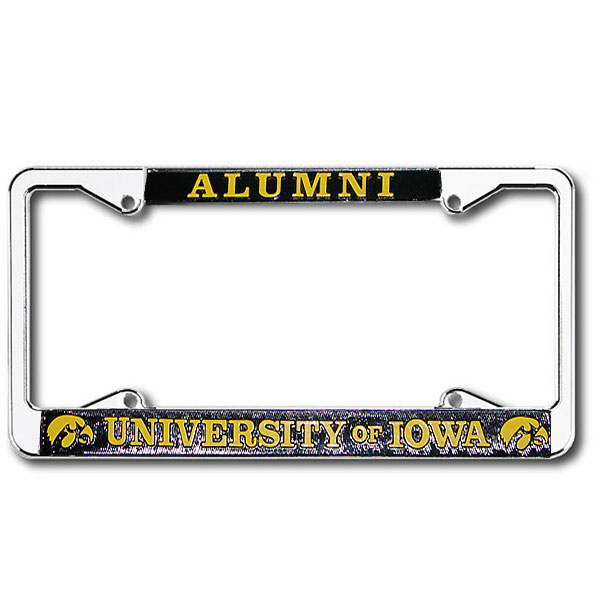 Iowa Hawkeyes Alumni Chrome License Plate Frame