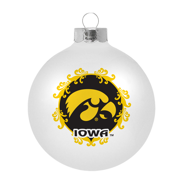 Iowa Hawkeyes Large White Ornament