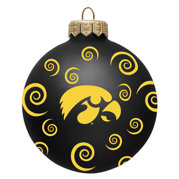 Iowa Hawkeyes Swirl Ball Ornament