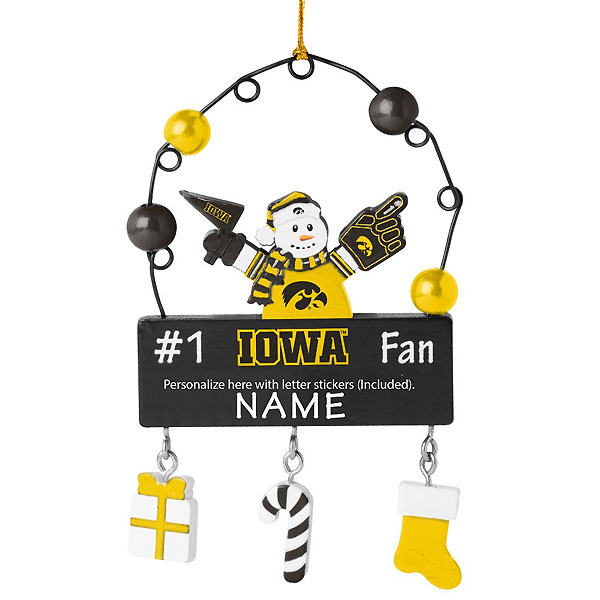 Iowa Hawkeyes Personalized Snowman Ornament