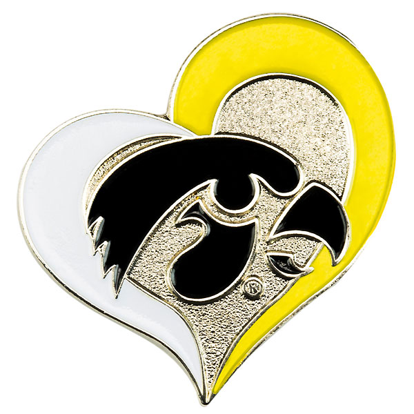 Iowa Hawkeyes Swirl Heart Pin