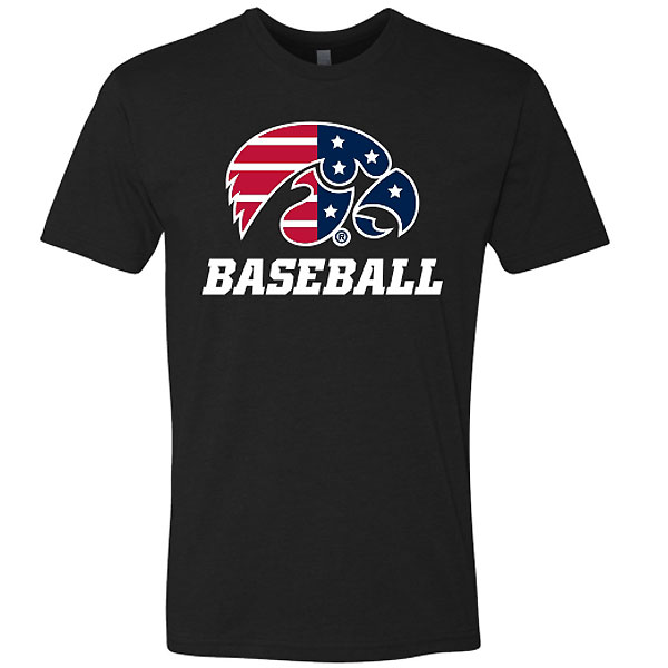 Iowa Hawkeyes Baseball Patriotic Tee - Black