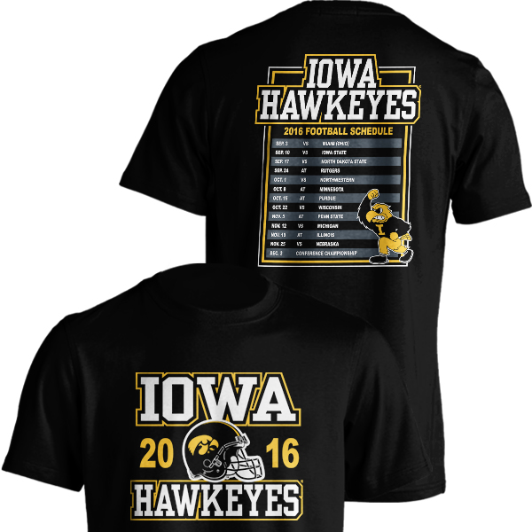 Iowa Hawkeyes 2016 Football Schedule Tee