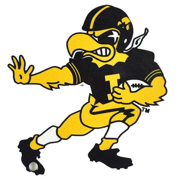 Iowa Hawkeyes Vintage Football Herky Stiff Arm Magnet