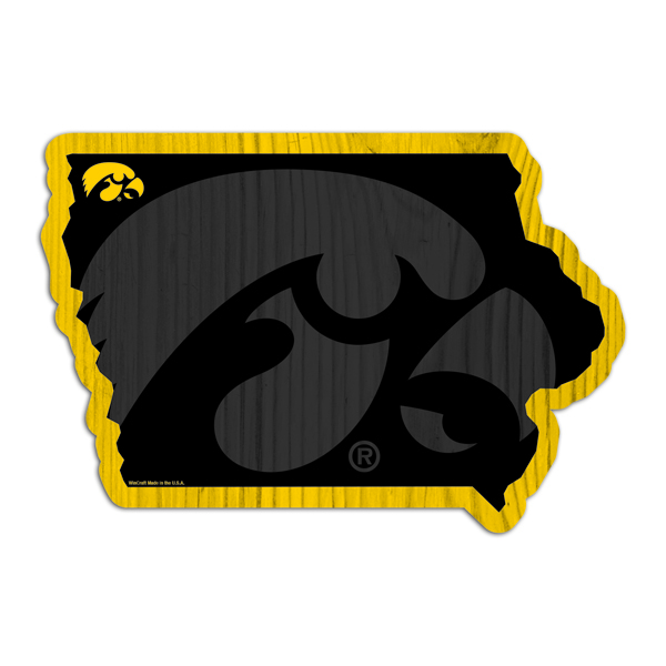 Iowa Hawkeyes State Shaped Wood Sign