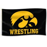 Iowa Hawkeyes Wrestling Tigerhawk Logo Flag
