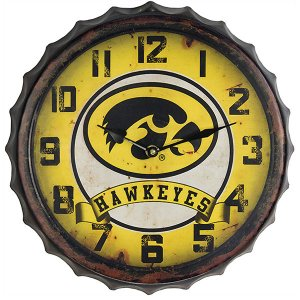 Iowa Hawkeyes Bottle Cap Clock