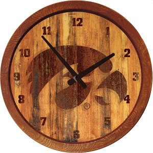 Iowa Hawkeyes Tigerhawk Branded Barrel Clock
