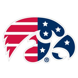 Iowa Hawkeyes Patriotic Logo Decal