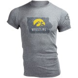 Iowa Hawkeyes Wrestling Outline State Tee
